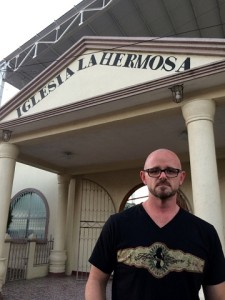 Hermosa Cigars Founder Scott de la Pena in front of Iglesia La Hermosa Church in Nicaragua - Photo Credit: Cigar Memoir