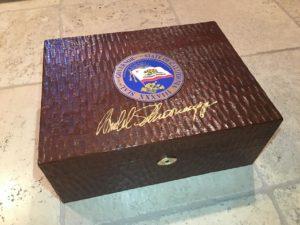 4 DM Schwarzenegger Autographed Humidor Exterior